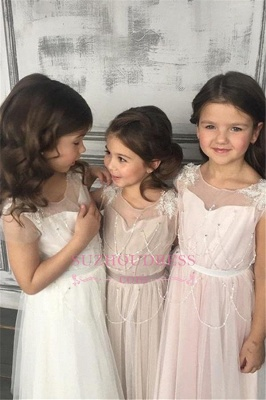 Beadings Girls Pageant Dress Open Back Tulle A-Line Glamorous Appliques Flower Girl Dresses_4
