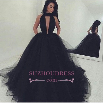 Gorgeous High Neck Keyhole Prom Dresses  Black Puffy Tulle Popular Evening Dress BA4184_1