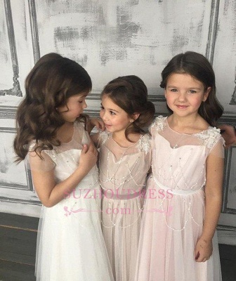 Beadings Girls Pageant Dress Open Back Tulle A-Line Glamorous Appliques Flower Girl Dresses