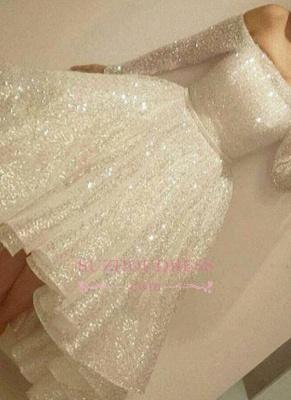 Bling Bling Off-the-shoulder Long Sleeves Evening Gowns  Short Prom Dresses BA3706_3