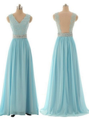 Elegant V-Neck Beading Long Prom Dress A-Line Crystal Chiffon Evening Gown_3