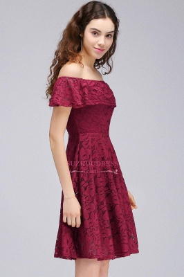 Off-the-Shoulder Burgundy Lace Short Sheath Homecoming Dresses_2