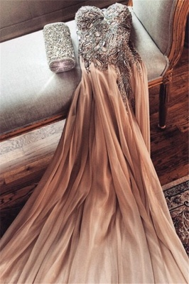 Spaghetti Strap Champagne Prom Dresses with Beading Chiffon Split Side Party Dresses BO9988_4