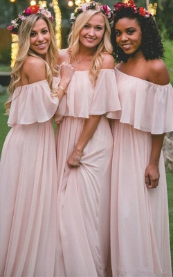 Baby Pink Off The Shoulder Bridesmaid Dresses  | Chiffon Sexy Bridesmaid Dress_1