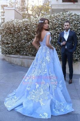 Lace Floor Length Off The Shoulder Formal Dress  Baby Blue Elegant Evening Dress BA6445_2