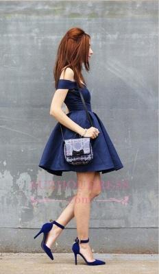 Short A-line Dark-Navy Off-the-shoulder Modest Homecoming Dress_1