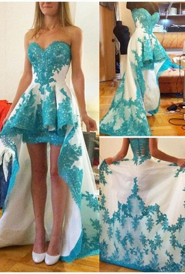 A-Line Sweetheart Hi-Lo  Prom Dress Glamorous Lace Applique Formal Occasion Dress_1