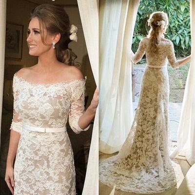 Lace Half Sleeve Bridal Dresses  Off-the-shoulder Elegant Wedding Gowns with Sash_1