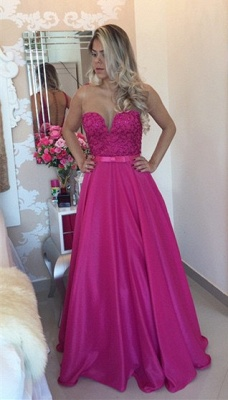 Latest Fushia Open Back Prom Dress with Belt A-Line Floor Length Evening Gowns_1