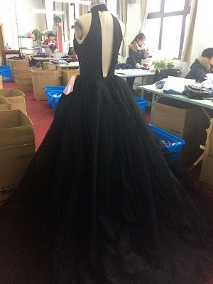 Gorgeous High Neck Keyhole Prom Dresses  Black Puffy Tulle Popular Evening Dress BA4184_5