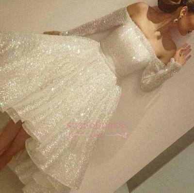 Bling Bling Off-the-shoulder Long Sleeves Evening Gowns  Short Prom Dresses BA3706_1