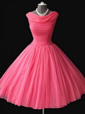 Watermelon Mini Sleeveless Vintage Homecoming Dresses Cute Elegant Cocktail Dresses BA7450_1