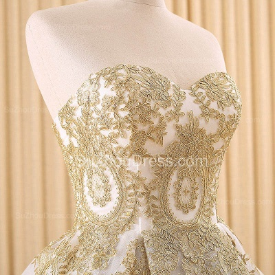 Vintage Swwetheart Gold Lace Ball Gown Wedding Dress White Tulle Latest Formal Long Bridal Gowns_4