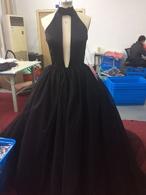 Gorgeous High Neck Keyhole Prom Dresses  Black Puffy Tulle Popular Evening Dress BA4184_4