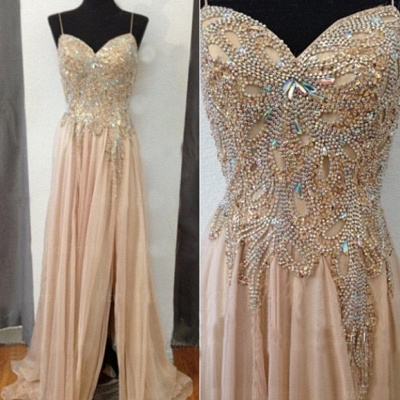 Spaghetti Strap Champagne Prom Dresses with Beading Chiffon Split Side Party Dresses BO9988_3