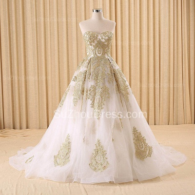 Vintage Swwetheart Gold Lace Ball Gown Wedding Dress White Tulle Latest Formal Long Bridal Gowns_3