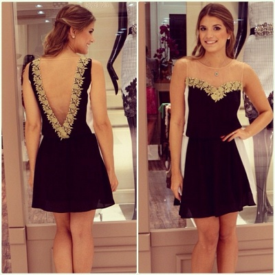 Latest Chiffon Short Summer Dress with Lace Sleeveless Open Back Mini Homecoming Gowns_3