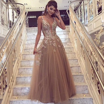 Sexy Lace Appliques  Prom Dresses  | Sleeveless Long Evening Party Dress FB0396_3