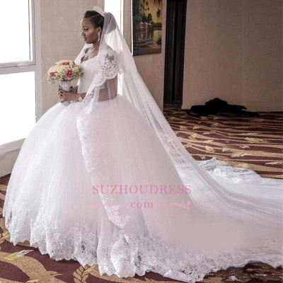 Lace-Appliques Ball-Gown Gorgeous Cap-Sleeve Long Tulle Wedding Dress_1