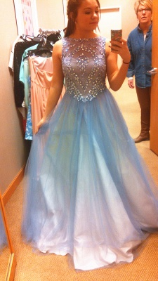 Sheer Blue Lovely Tulle  Prom Dresses Crystal Popular Cute Long Party Dresses_1