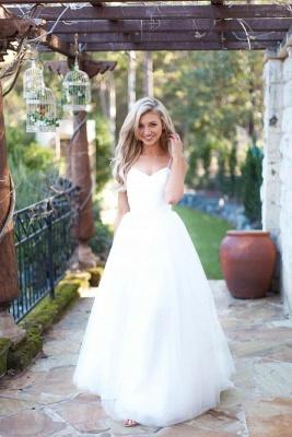 Spaghetti Strap Tulle Summer Wedding Dress New Arrival  A-Line Long Bridal Dresses_1