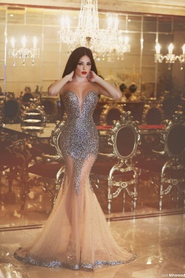 Sweetheart Sexy Mermaid Long Evening Dress with Crystals Latest Custom Made Trumpet Dresses for Women MH043_1