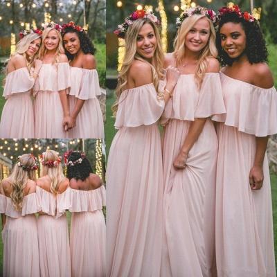 Baby Pink Off The Shoulder Bridesmaid Dresses  | Chiffon Sexy Bridesmaid Dress_3