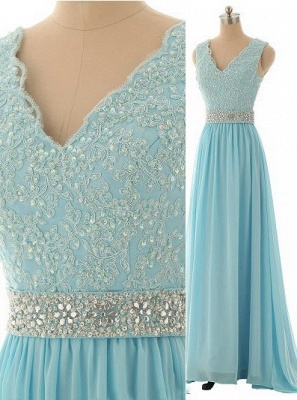 Elegant V-Neck Beading Long Prom Dress A-Line Crystal Chiffon Evening Gown_1