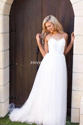 Spaghetti Strap Tulle Summer Wedding Dress New Arrival  A-Line Long Bridal Dresses_4