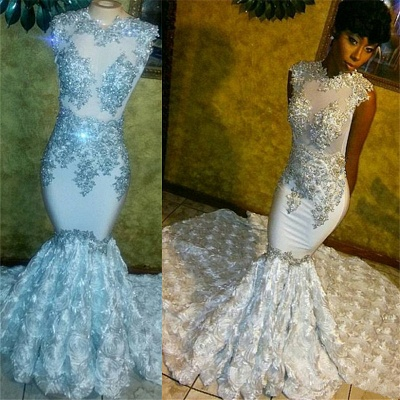 Beaded Lace Appliques  Prom Dresses   Mermaid Flowers Sleeveless Sparkle Evening Gown FB0294_3