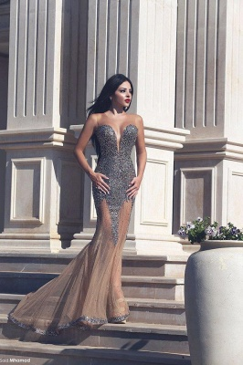 Sweetheart Sexy Mermaid Long Evening Dress with Crystals Latest Custom Made Trumpet Dresses for Women MH043_2