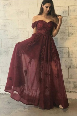 Tulle Appliques Burgundy Evening Dress  Lace Off The Shoulder Gorgeous  Prom Dress_3