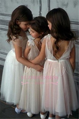 Beadings Girls Pageant Dress Open Back Tulle A-Line Glamorous Appliques Flower Girl Dresses_3