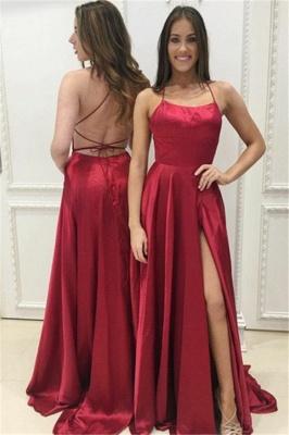 Red A-Line Halter Evening Dresses    Open Back Side Slit Formal Dresses BA8048_1