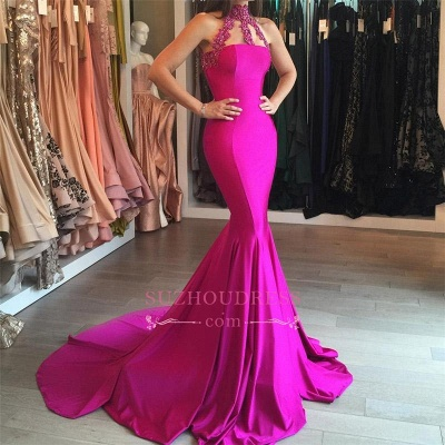 Sleeveless High Neck Evening Gown  Mermaid Sweep-Train Lace-appliques Modest Prom Dress BA6354_1