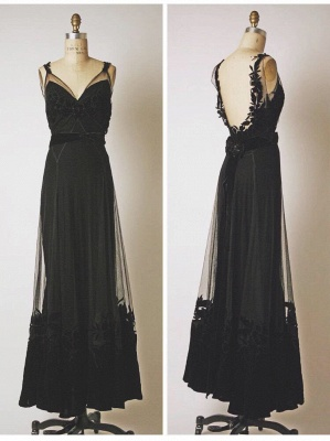 Black V-Neck Applique Cute Prom Dresses Floor Length Backless Sexy Long Sheer Evening Gowns_2