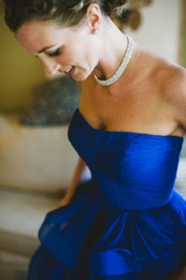 Sweetheart Royal Blue  Wedding Dress Organza Puffy Hot Sale Brideal Dress for Beach Wedding_3