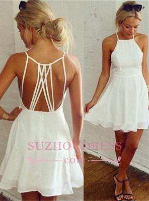 White Mini Ball Dress   Backless Modest Sleeveless Homecoming Dress_1