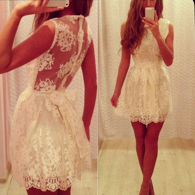 White Cute Lace Mini Homecoming Dresses A-Line Short  Summer Dress_1