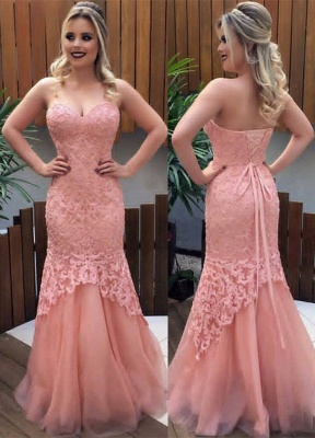 Sweetheart Pink Lace Tulle Prom Dresses  Sexy Sleeveless Lace-up Evening Gown_1
