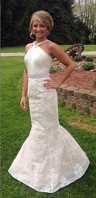 White Sexy Mermaid Lace Long Wedding Dress Halter Ruffles Beading Floor Length Bridal Gown_1