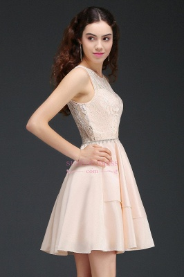 Lace Beading Sleeveless Tiers A-line Elegant Homecoming Dresses_4