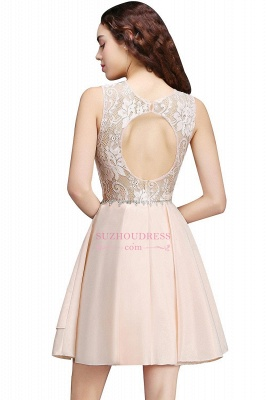 Lace Beading Sleeveless Tiers A-line Elegant Homecoming Dresses_5