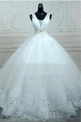 Straps Sleevelss Lace Beading Wedding Dresses  Ball Gown Lace-up Open Back Bridal Dress_1
