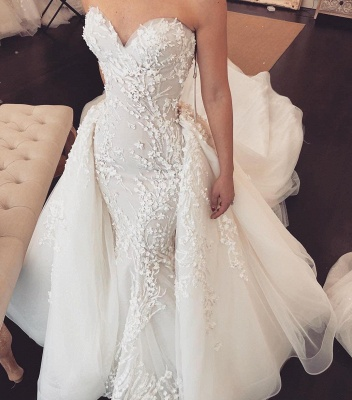 Chic Tulle Chapel Train Wholesale Wedding Dresses Sweetheart Lace Appliques Overskirt Bridal Gowns Online_3