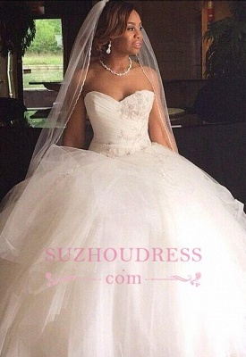 Sweetheart Puffy Tulle Princess Bridal Gown Appliques Gorgeous  Wedding Dresses_1