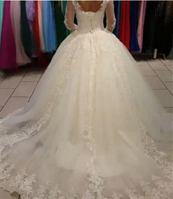 Long Sleeve Lace Ball Gown Wedding Dress Tulle Sweep Train  Bridal Gowns_3