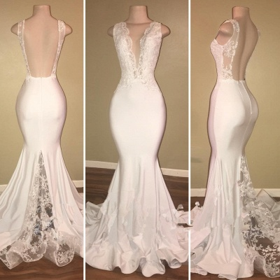 Real Deep V-neck Sexy Backless Prom Dresses Lace Mermaid  New Arrival Evening Dress_3