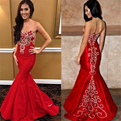 Bright Red Sweetheart  Prom Dresses Mermaid Strapless Popular New Evening Dress_3