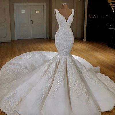 Gorgeous Straps Wedding Dresses with Long Train Mermaid Lace Bridal Gowns Online_2